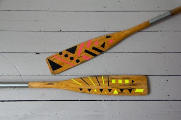 Vintage paddles with gemoetric pattern